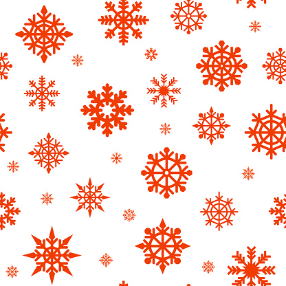 Seamless pattern with red snowflakes on a white background. Abstract New Year pattern. Seamless ornament for decor, wallpaper, gift paper and souvenirs. snowflakes line illustration. Abstract texture.
