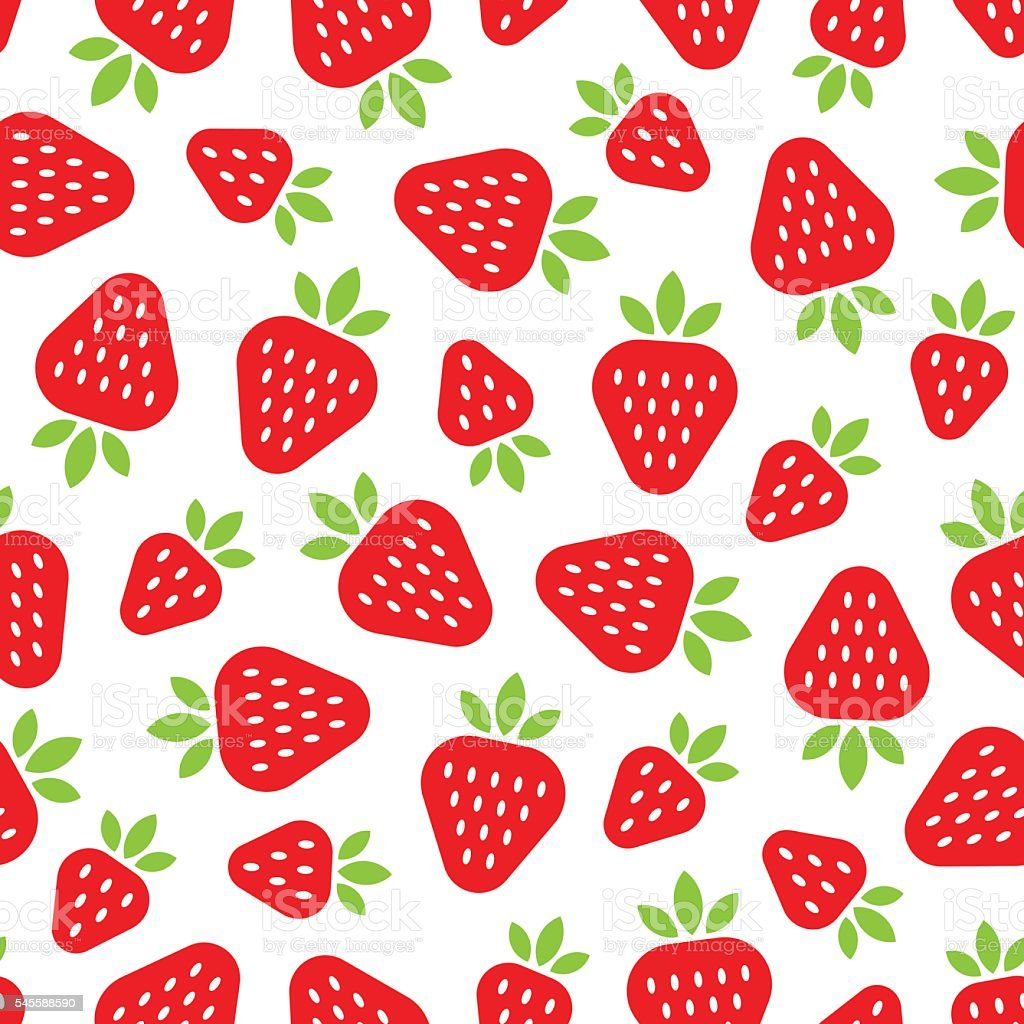 Seamless pattern with red strawberries in a flat style. vector art illustration