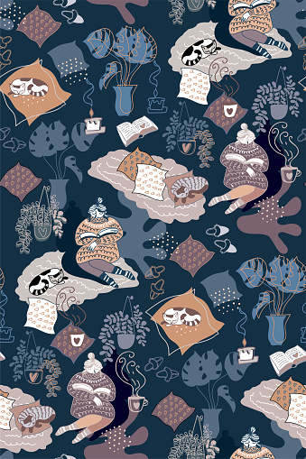 Seamless pattern with relaxed woman at cozy evening home interior.