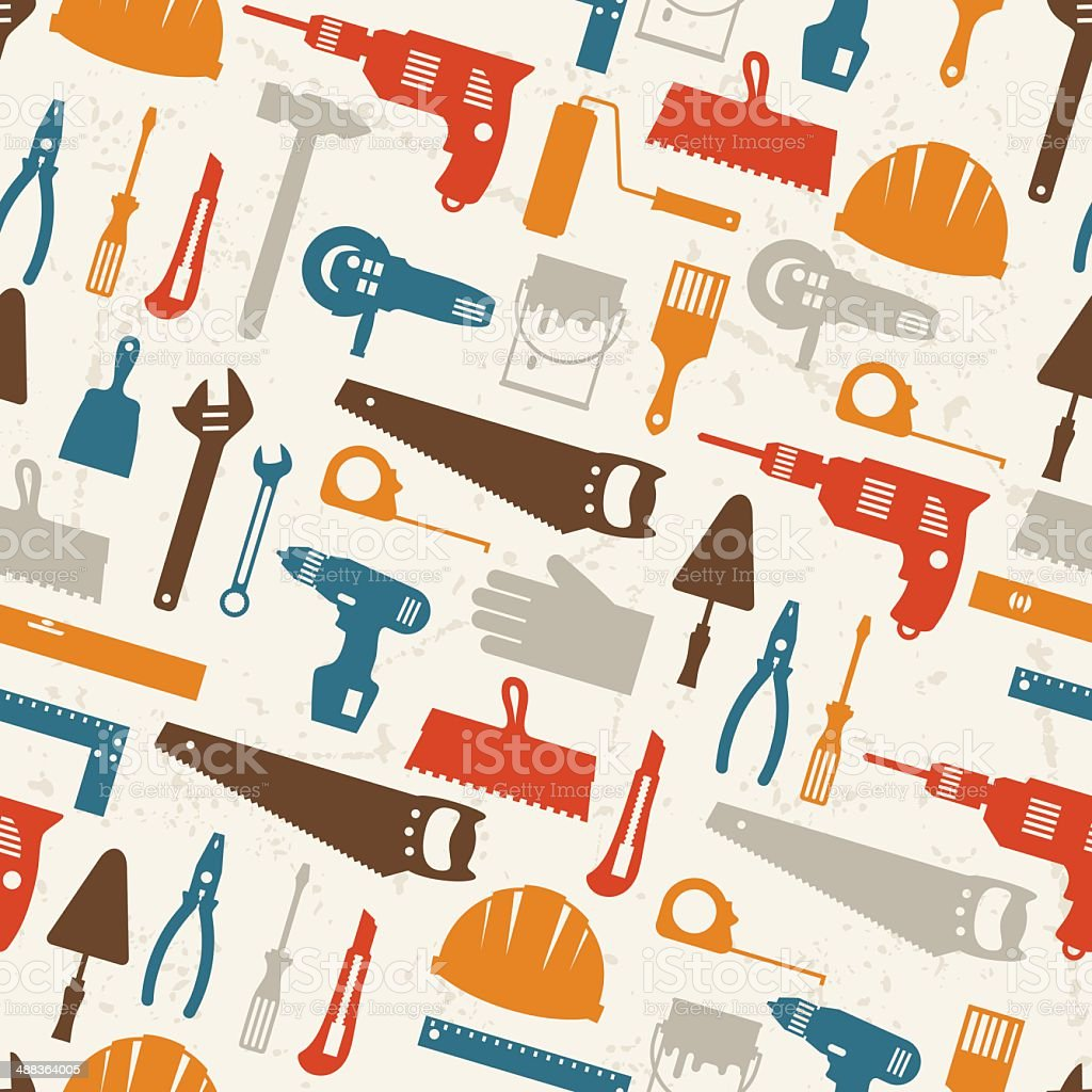 Seamless pattern with repair working tools icons. royalty-free stock vector art
