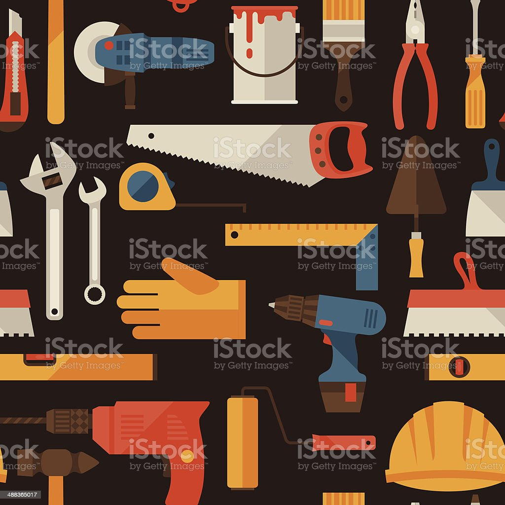 Seamless pattern with repair working tools icons. royalty-free seamless pattern with repair working tools icons stock vector art & more images of adjustable wrench