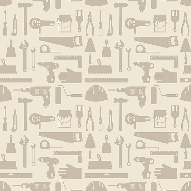 seamless pattern with repair working tools icons. - tools stock illustrations