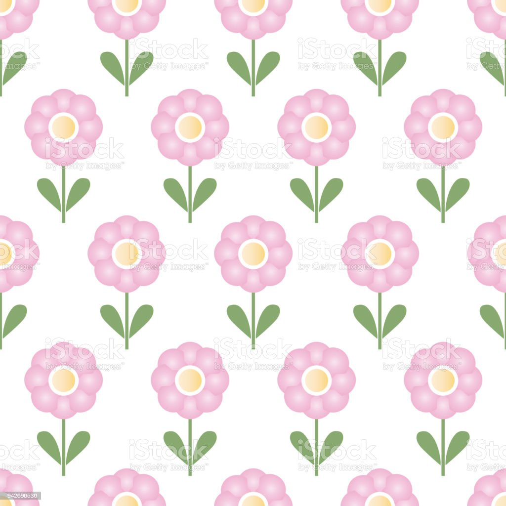 Seamless pattern with repeating pink flowers - isolated vector on a white background vector art illustration
