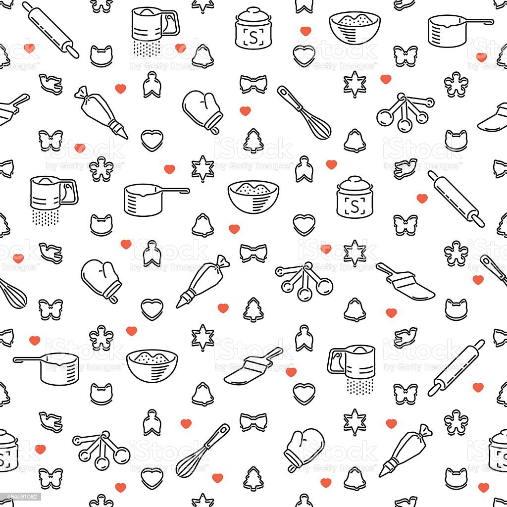 Seamless pattern with restaurant and kitchen utensils for cookies vector art illustration