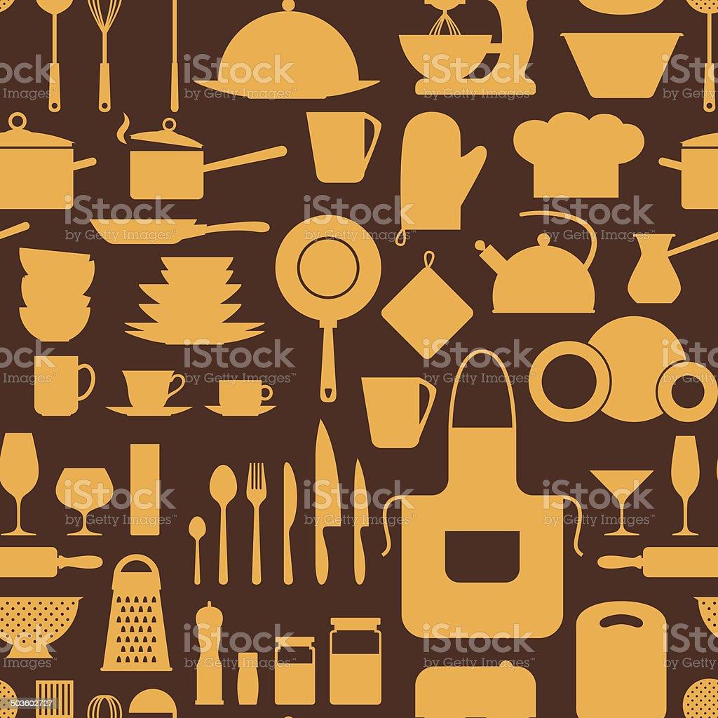 Ilustración de Patrón Sin Costuras Con Restaurante Y Utensilios De ...