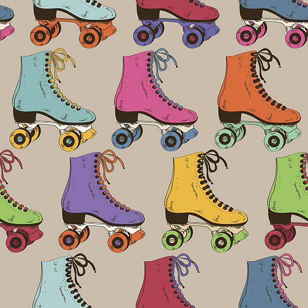 nahtlose muster mit retro-rollerskates - rollschuh stock-grafiken, -clipart, -cartoons und -symbole