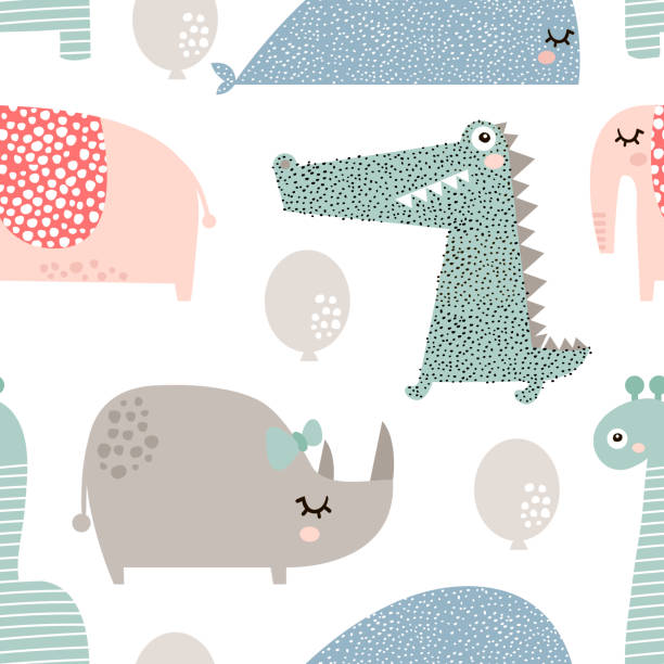 seamless pattern with rhinoceros, elephant, crocodile, whale. creative bay animals background. perfect for kids apparel,fabric, textile, nursery decoration,wrapping paper.vector illustration - baby animals stock illustrations