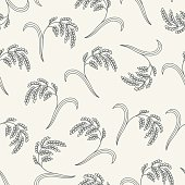 Seamless pattern with rice