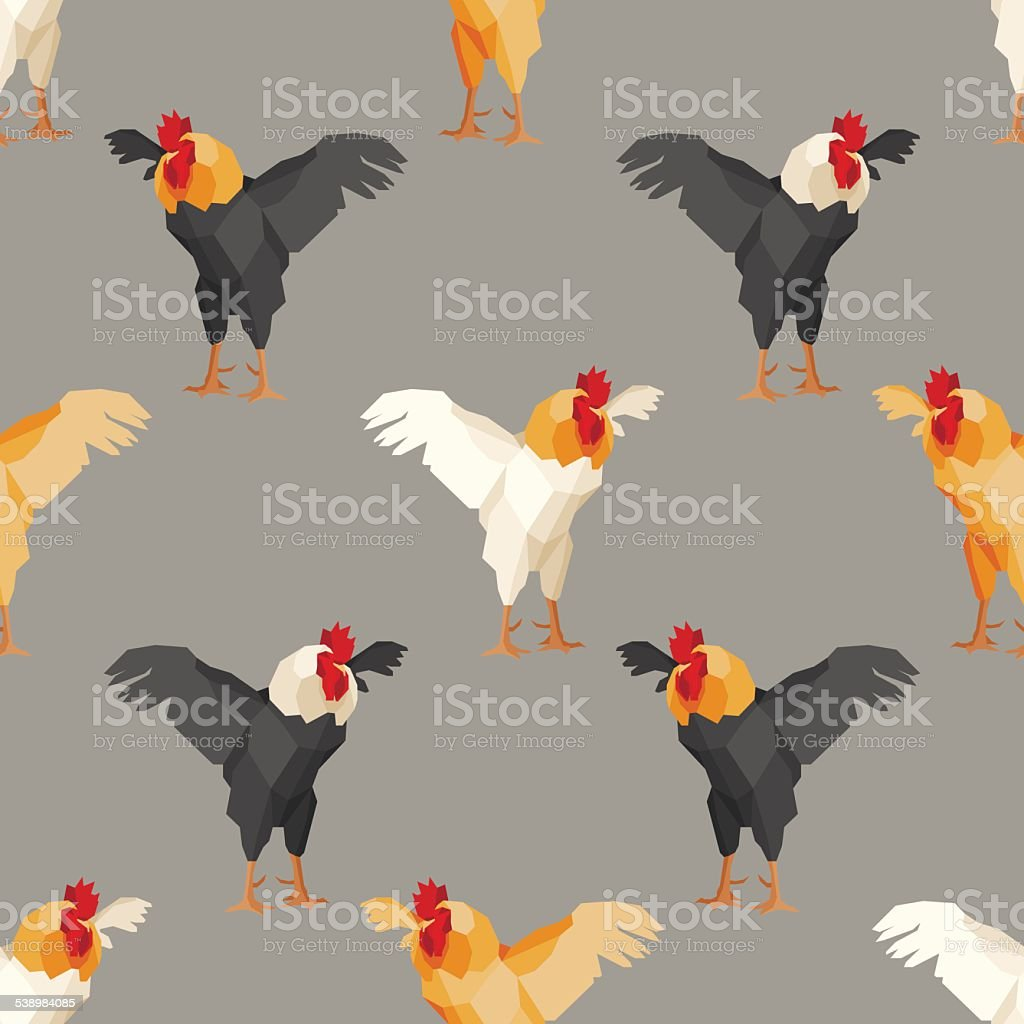 Seamless pattern with rooster 2 vector art illustration
