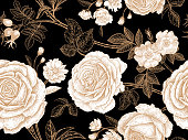 Garden roses. Floral vintage seamless pattern. White flowers, gold leaves, branches and berries on black background. Oriental style. Vector illustration. For design textiles, paper, wallpaper.