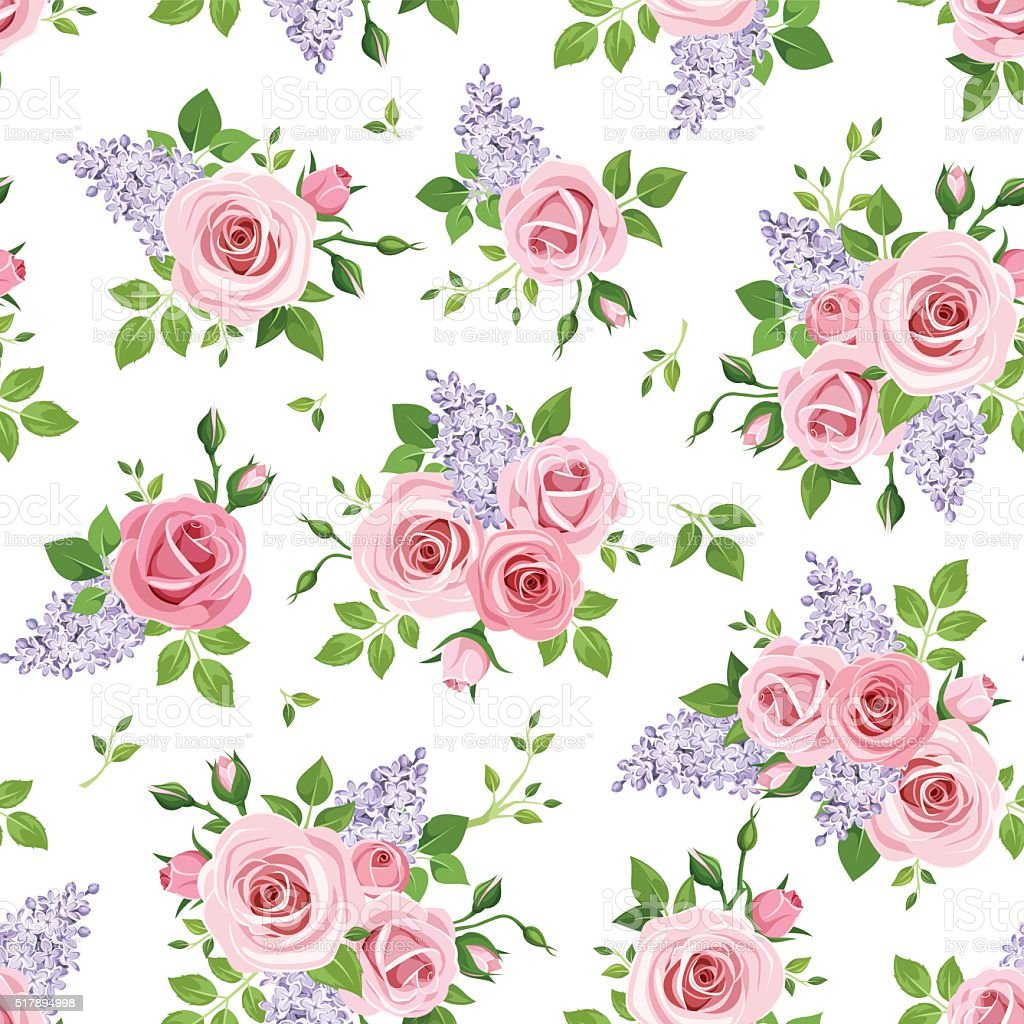 Seamless pattern with roses and lilac flowers. Vector illustration. vector art illustration