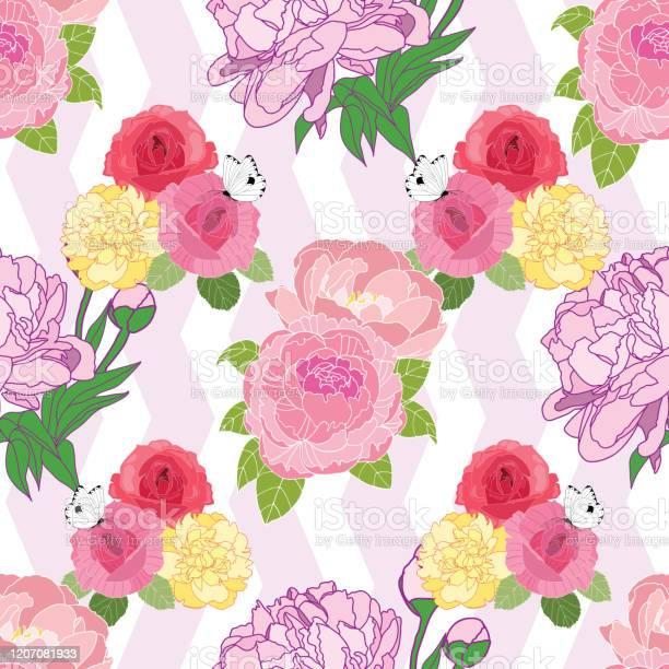Seamless pattern with roses and peonys on pink chevron background vector id1207081933?b=1&k=6&m=1207081933&s=612x612&h=yboqa7vzmgp ogtqqcuzcufjkphakqln1h3ibdel6yk=