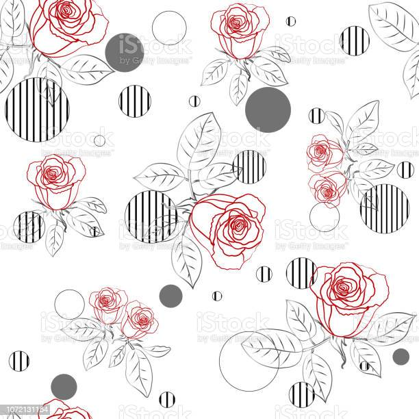Seamless pattern with roses and striped circles vector illustration vector id1072131154?b=1&k=6&m=1072131154&s=612x612&h=9oevavry4qxkvwsmizy r2 q68d0g5vq8t7rbiynqhi=