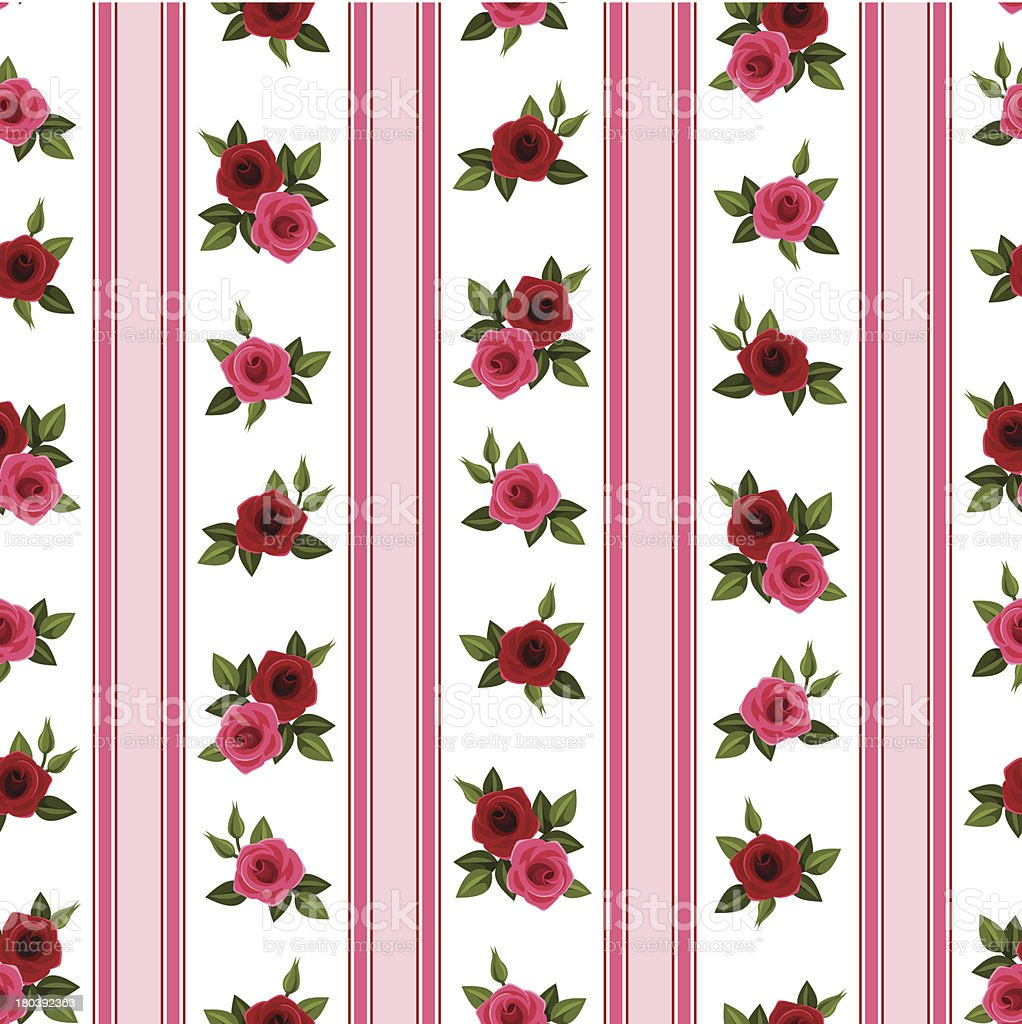 Seamless pattern with roses and stripes. Vector illustration. royalty-free seamless pattern with roses and stripes vector illustration stock vector art & more images of backgrounds