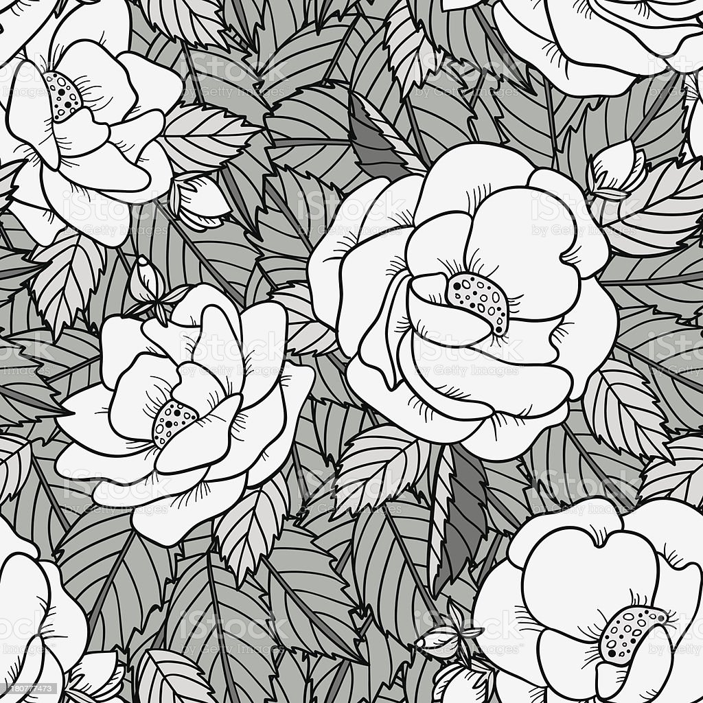 Seamless pattern with roses in black and white royalty-free stock vector art