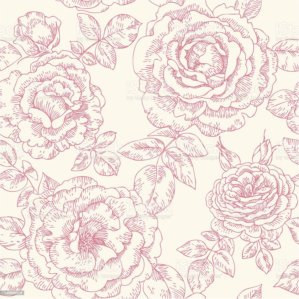 seamless pattern with roses vector art illustration