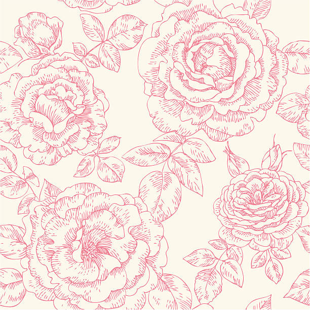 seamless pattern with roses - vintage flowers stock illustrations, clip art, cartoons, & icons