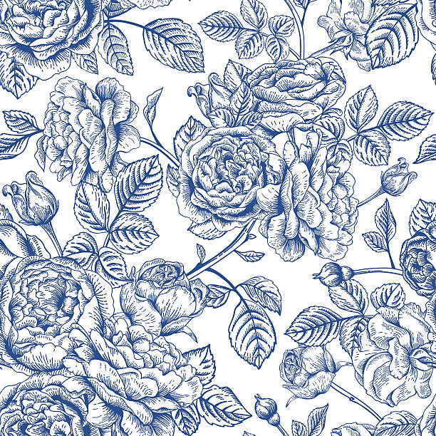 bildbanksillustrationer, clip art samt tecknat material och ikoner med seamless pattern with  roses. - flower bouquet blue and white