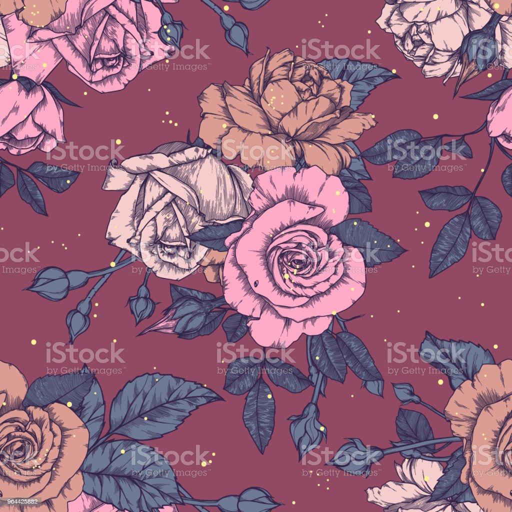 Padrão sem emenda com design Vintage de rosas - Vetor de Abstrato royalty-free