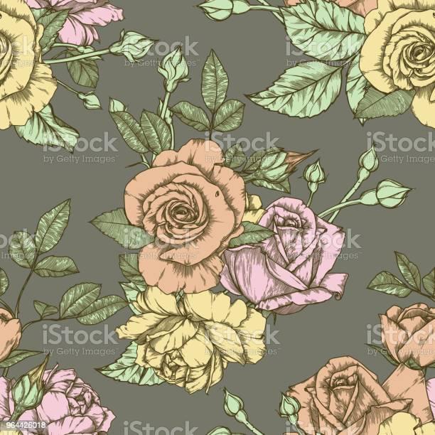 Vetores de Padrão Sem Emenda Com Design Vintage De Rosas e mais imagens de Abstrato