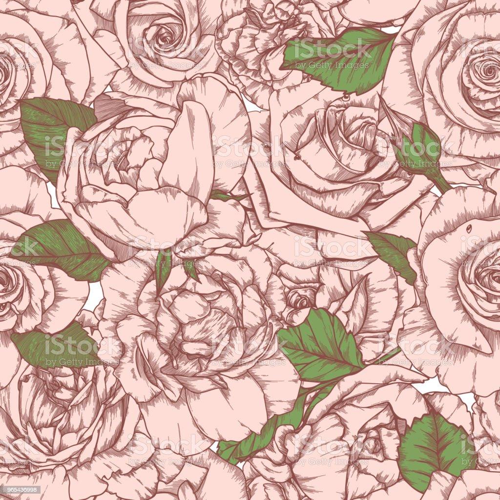 Seamless pattern with roses Vintage design seamless pattern with roses vintage design - stockowe grafiki wektorowe i więcej obrazów abstrakcja royalty-free