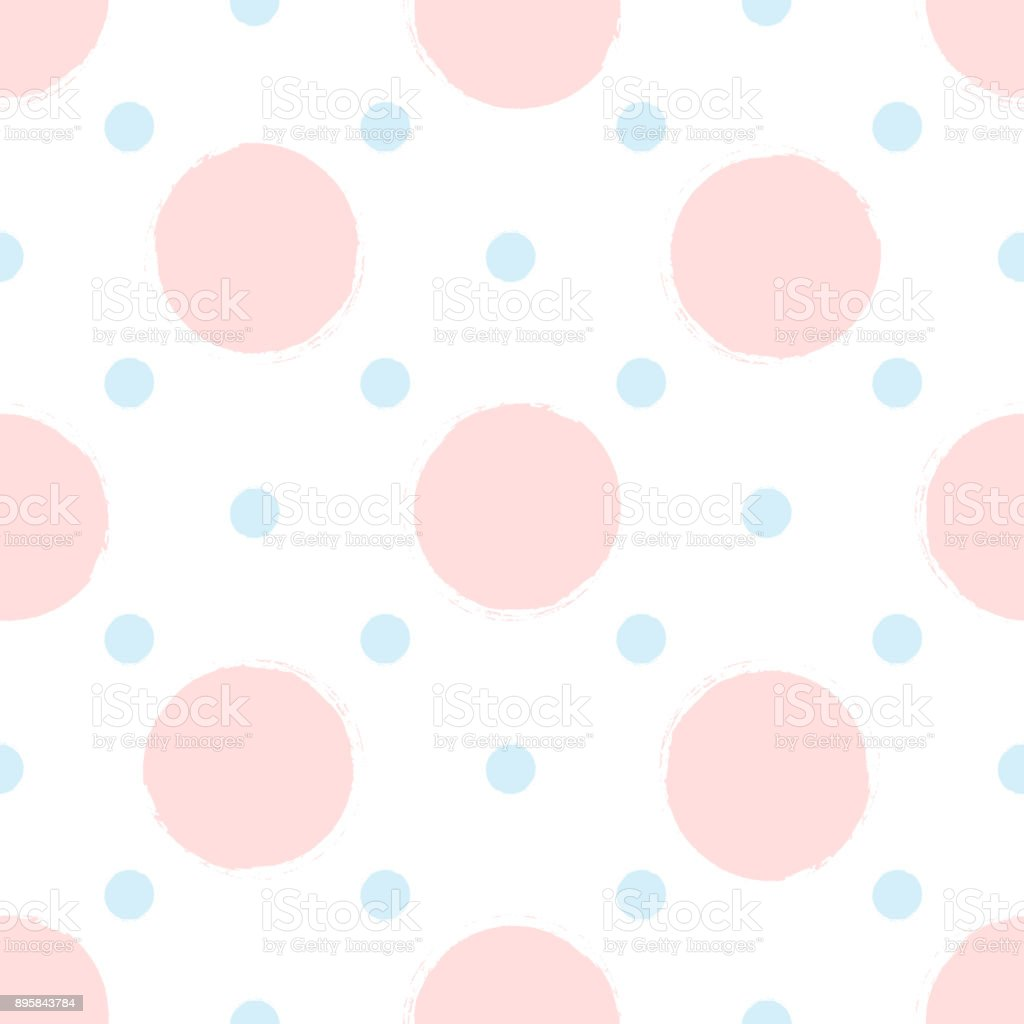 Seamless pattern with round spots painted with rough brush. Sketch, watercolor, ink. White, pink, blue color. vector art illustration