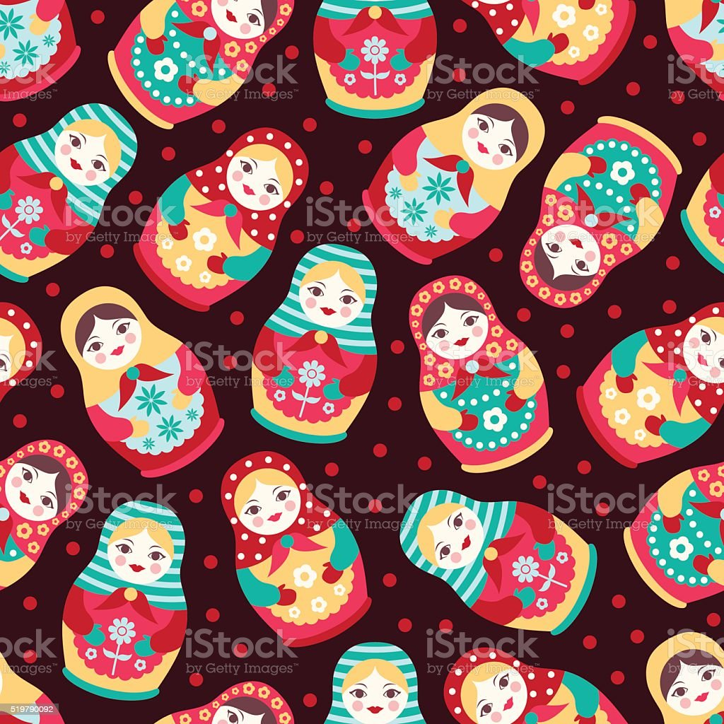 Seamless pattern with Russian dolls vector art illustration