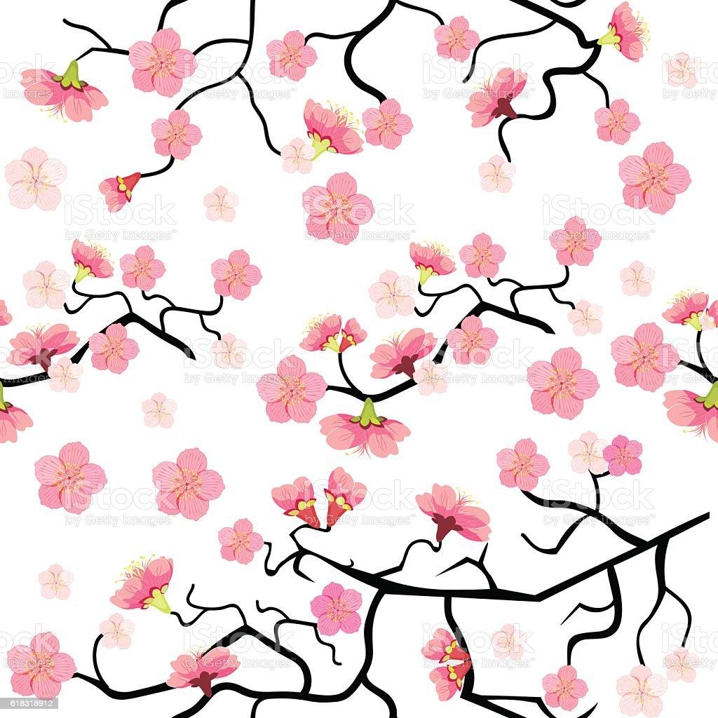 seamless pattern with sakura cherry blossom branch. vector illus vector art illustration