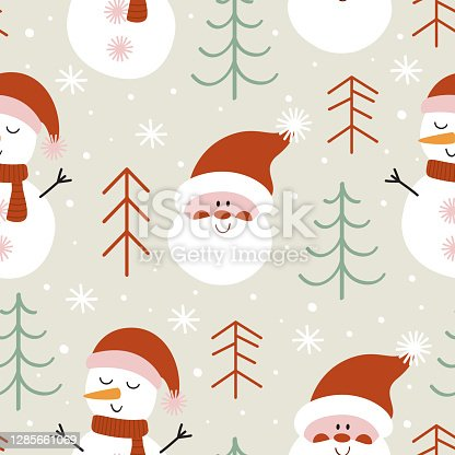 istock seamless pattern with  Santa Claus and snowman 1285661069