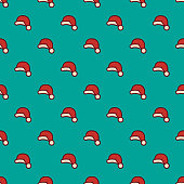 Seamless Pattern with Santa Claus Christmas hat,vector illustration. EPS 10.