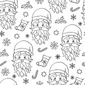 Seamless pattern with Santa.