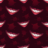 Seamless pattern with scary vampires smiles