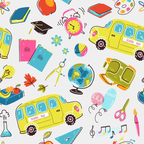 Modèle sans couture avec des symboles d'école. Autobus scolaire, réveil, sac à dos, papeterie et livres - Illustration vectorielle
