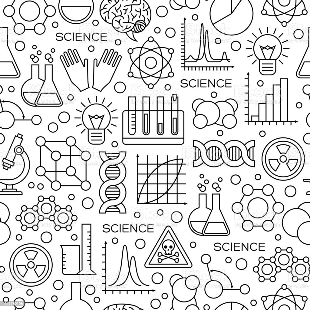 Seamless Pattern with Science Line Icons vector art illustration