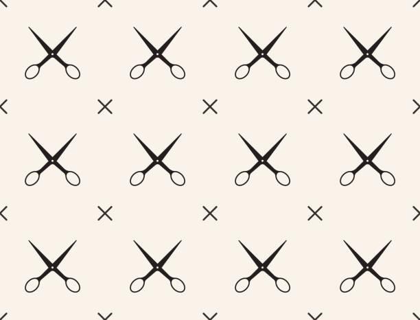 illustrazioni stock, clip art, cartoni animati e icone di tendenza di seamless pattern with scissors, vector, tailoring - tailor working