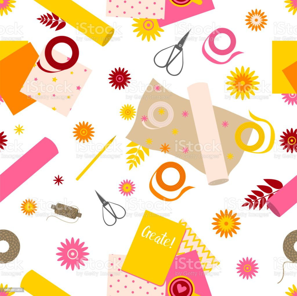 Seamless Pattern With Scrapbooking Tools Stock Vector Art More
