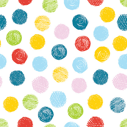 Seamless pattern with scribble dots. Vector abstract background.
