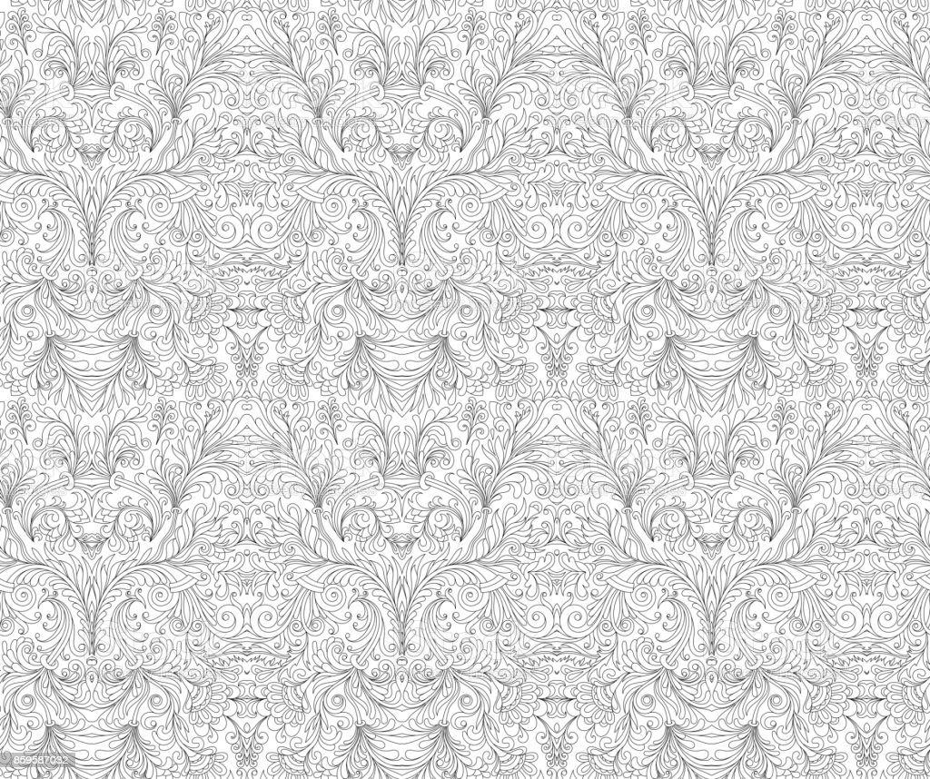 スタイリッシュな花の装飾の壁紙を形成するスクロールとシームレスなパターンカラー ブックのページ アウトドアのベクターアート素材や画像を多数ご用意 Istock
