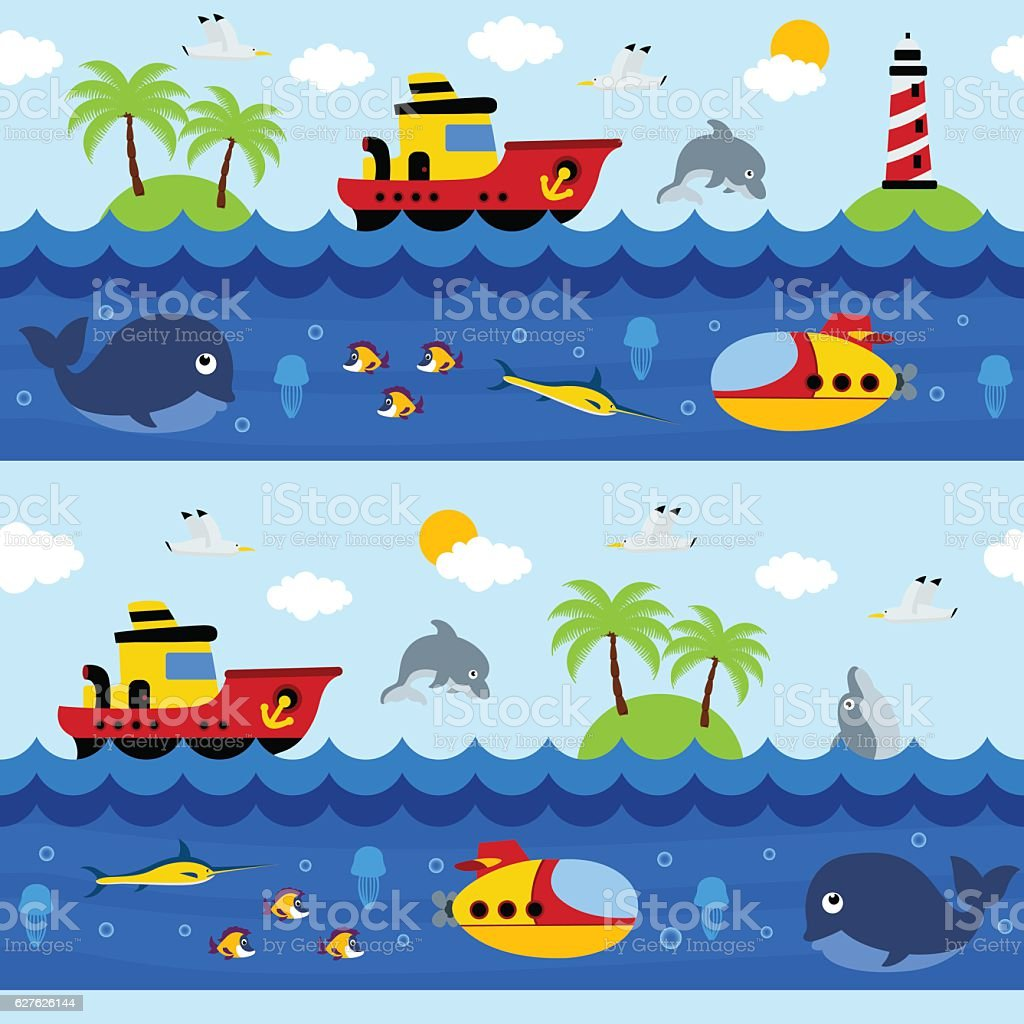 seamless pattern with sea and underwater vector art illustration
