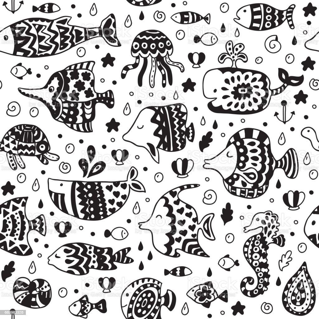 Seamless pattern with sea creatures. vector art illustration