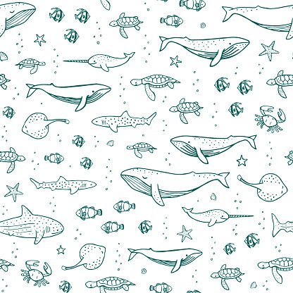 Seamless pattern with sea dwellers. Vector illustration for cover, fabric, wrapping paper. Hand drawing