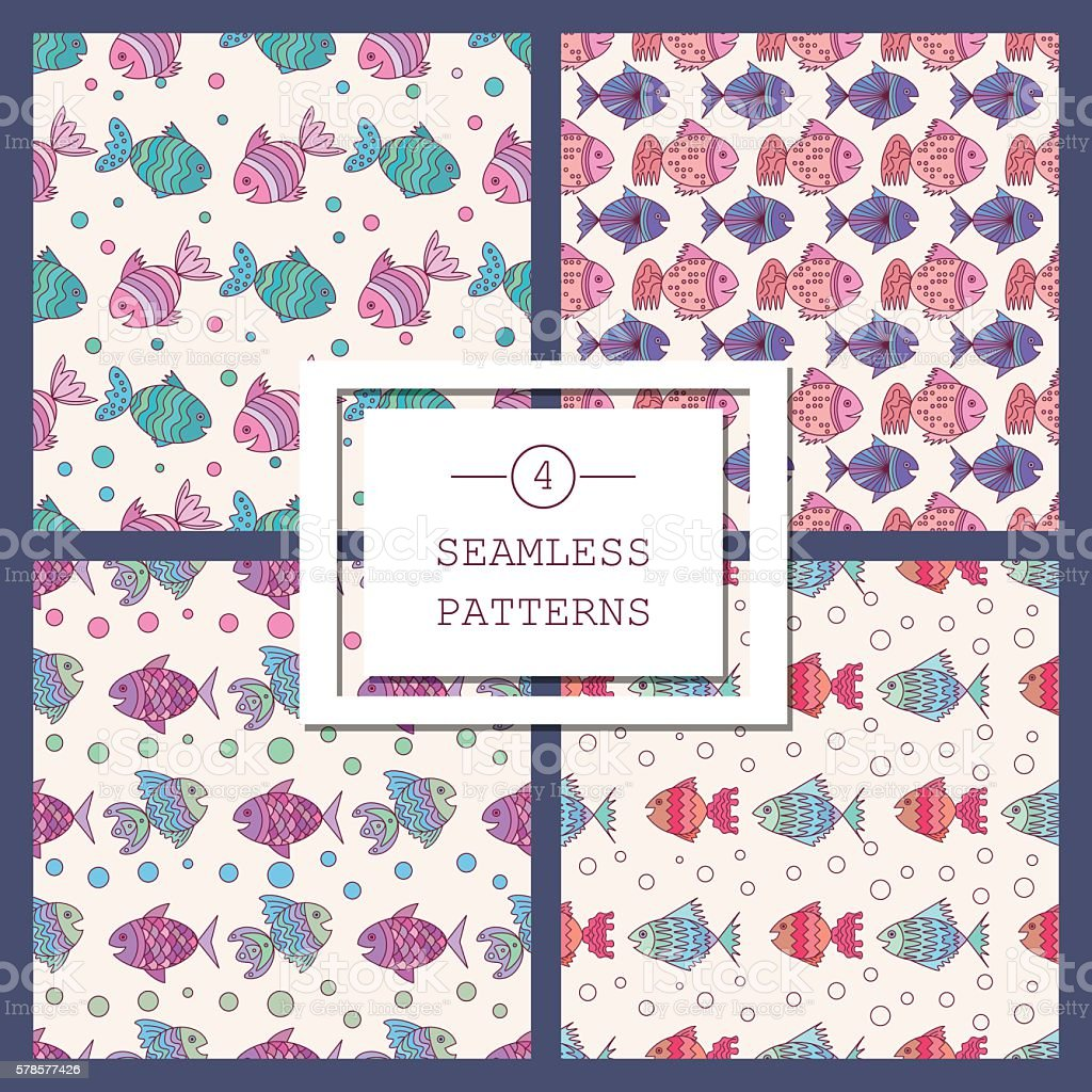 seamless pattern with sea fish royalty-free seamless pattern with sea fish stock vector art & more images of animal