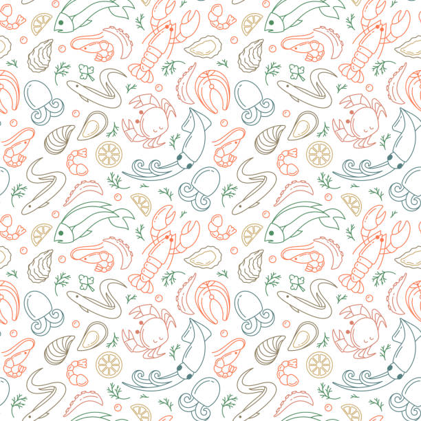 Seamless pattern with seafood elements Seamless pattern with seafood elements. Linear style vector illustration. Suitable for wallpaper, wrapping or textile seafood stock illustrations