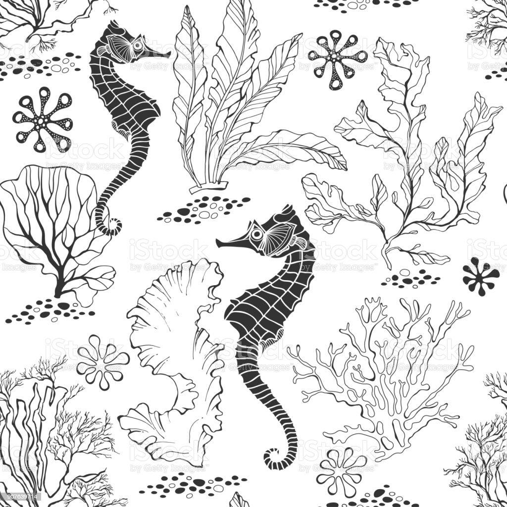 Nahtlose Muster Mit Seepferdchen Und Unterwasserpflanzen Auf Weißem ...