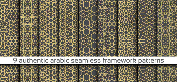 illustrazioni stock, clip art, cartoni animati e icone di tendenza di seamless pattern with seamless pattern in authentic arabian style - arabia
