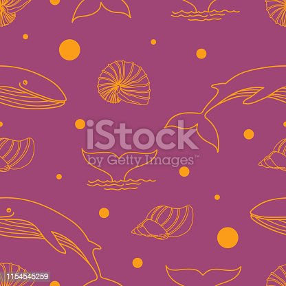 Seamless pattern with seashells, dots, whale and dolphin whale tail. Marine background for packaging. Linear illustration. Hand-drawn vector.