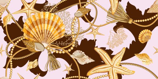 nahtloses muster mit muscheln im barockstil. - perlenweben stock-grafiken, -clipart, -cartoons und -symbole