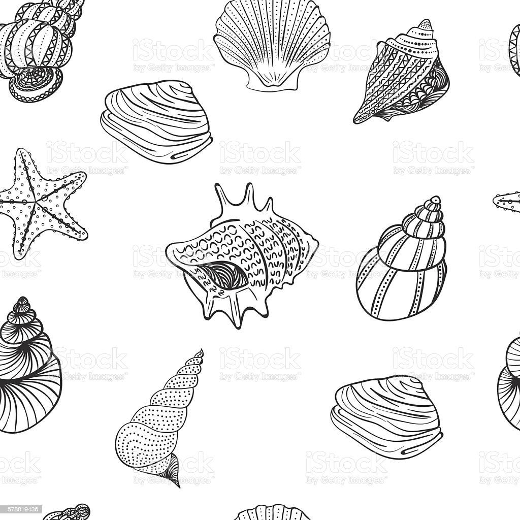 Seamless pattern with seashells . Lovely patterns . Vector vector art illustration