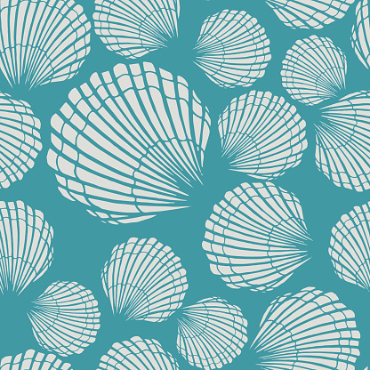 Seamless pattern with seashells. Marine background. Hand drawn vector illustration in sketch style. Perfect for greetings, invitations, coloring books, textile, wedding and web design