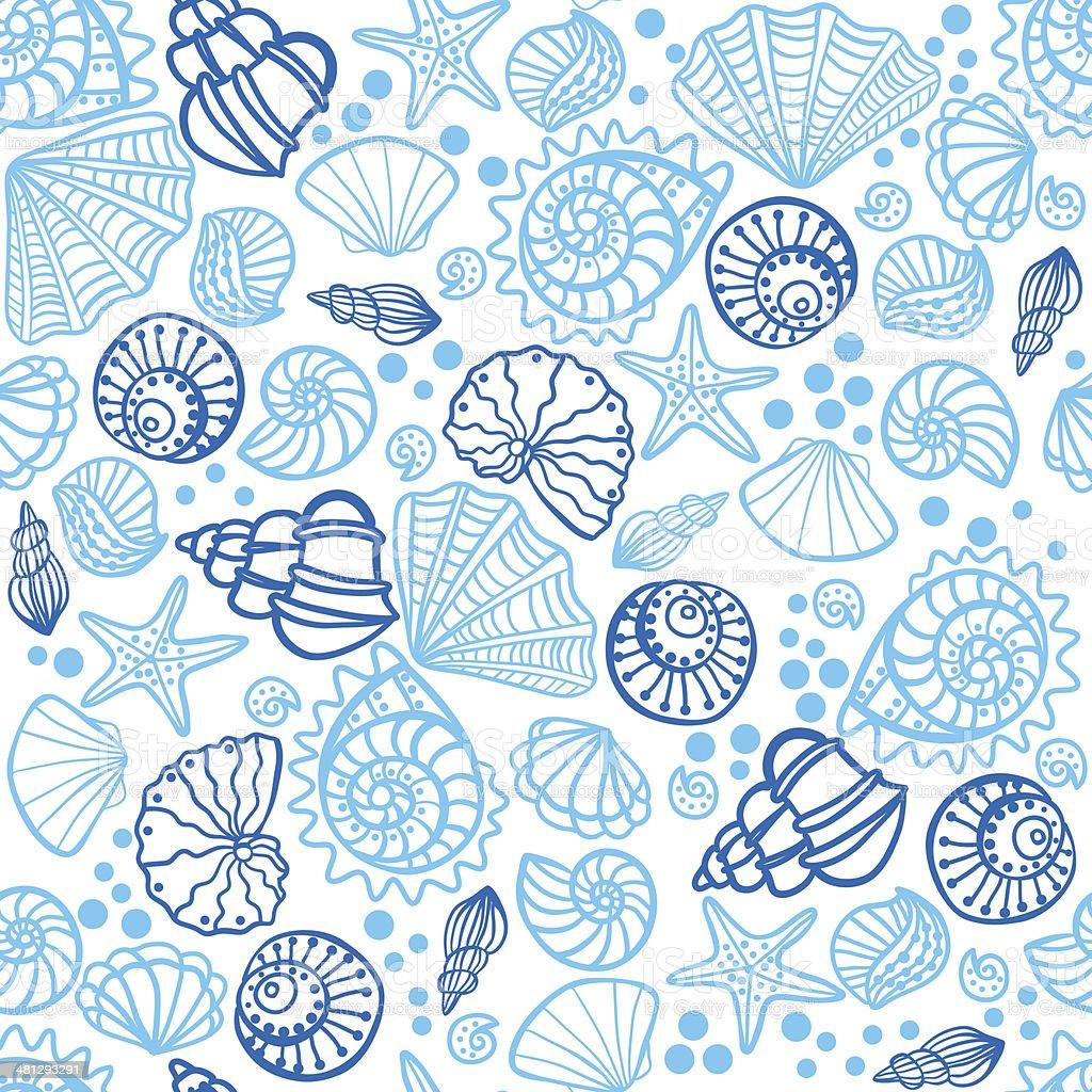 Seamless Pattern With Seashells White Background Stock